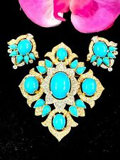 CROWN TRIFARI JEWELS OF INDIA TURQUOISE CABOCHON RHINESTONE BROOCH EARRINGS SET
