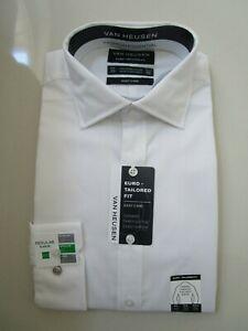 Van Heusen Men's Euro Tailored Fit White Self Pattern Business Shirt  Size:39/M