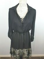 Leona Edmiston Black Long Sleeve Dinner Dress Womans 8