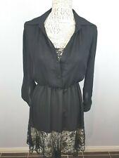 Leona Edmiston Black Long Sleeve Dinner Dress Ladies 8