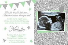 Personalised Baby Shower Invites Boy Girl Green Birth Invitations Gender Reveal