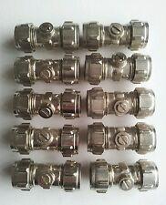 Conex 15mm Chrome Slot type Quarter Turn Ball appliance isolating valves x10.