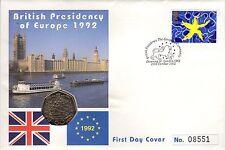 1992 1993 50P EEC BRILLIANT UNCIRCULATED EC PRESIDENCY FIFTY PENCE SINGLE MARKET