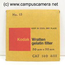 "Kodak 2 x 2"" #15 Deep Yellow Optical Wratten Filter 50mm x 50mm B&W film 1494111"