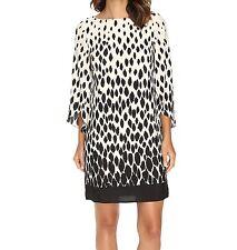 NWT MSRP $138  TAHARI by ASL Split Sleeve Print Shift Dress, Ivory Black, Size 4