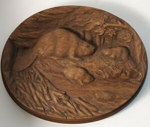 Vintage Karl Rothammer Oval Walnut Wood Beaver  Sculpture Repro Canada plaque