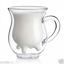 Handblown Double Wall Glass COW Milk Cup Coffee Tea Mugs Wine Beer Water Tumbler