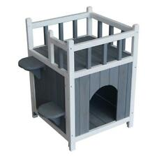Pet House Small Dog Indoor Outdoor Kennel Shelter Wooden Cat Home with Balcony