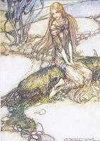MERMAID /& Duck in Night Forest Snail Fantasy Tale New Unposted Postcard
