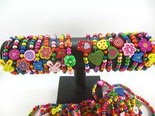 10X wood kids wooden bracelet wristband children's party birthday Jewellery