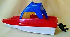CABIN CRUISER BOAT AMERICAN PLASTIC TOY MOTOR YELLOW WINDOWS RED WHITE BLUE 695.