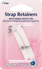 Shoulder Strap Retainer with Safety Pin White. Keeps garment/bra strap in place