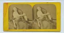 Woman On A Chair Partially Undressed - c1850s/60s Erotic Stereoview