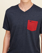 HOLLISTER by A&F Mens Contrast Pocket V Neck T-Shirt Grey FAST SHIPPING!! Size S