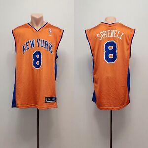 Latrell Sprewell #8 New York Knicks basketball Jersey Reebok NBA Shirt Orange M