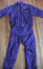 Nevica Vtg 80s 90s Purple w/ Leather 2 Piece Ski Suit Zip Hood Mens 42/36 Mint