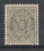Iceland - 1876/95, 6a Grey or Greenish Grey stamp - F/U - SG 15a/b (a)