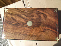 Stylish Brass inlaid and double wired walnut writing slope for artist / creator