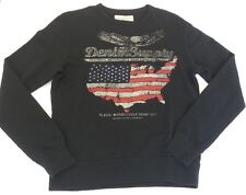 Denim & Supply Ralph Lauren Men Black Eagle USA Flag Map Sweatshirt Sweater  S