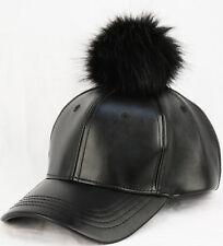 Fuax Leather Fur Ball Baseball Cap - POMPOM PU WINTER MEN WOMEN HAT / cp2260