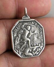 ST. MICHAEL ARCHANGEL / ST. LEONARD medal, silver, cast from antique original