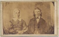 1860s CDV PHOTO of a DAGUERREOTYPE?? ELDERLY COUPLE CIVIL WAR REVENUE STAMP