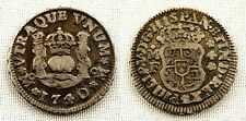 Felipe V. 1/2 Real. 1740. Mexico. MF. VF+/MBC+. Plata 1,6 g. Patina original