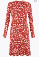 M&S ladies Animal Print Jersey Swing Dress Size 10 Red Mix Long Sleeve