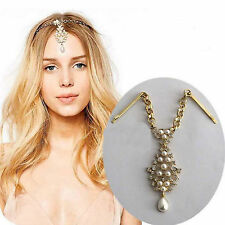 Best Chic Gold Pearl Flower Crystal Drop Bindi Hair Clip Indian Head Jewelry