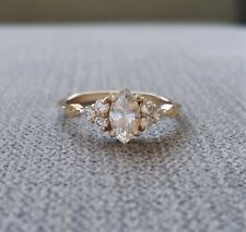 1Ct Marquise Cut Diamond Minimalist Slim Engagement Ring 14K Yellow Gold Finish