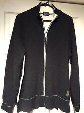 TRUSSARDI JEANS Men's Full Zip Sweater Black ITALY Size L. STYLISH
