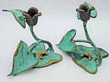 "Vintage Pair Frog Lily Pad Leaf Figural Candle Holder Brass Verdigris Patina 5"""