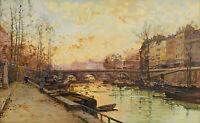 The River Seine, Paris Painting by Eugene Galien-Laloue Reproduction