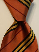BURBERRY LONDON Men's 100% Silk Necktie ITALY Luxury STRIPED Orange/Yellow EUC