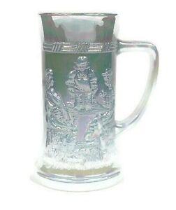 "Fenton Federal White Iridescent Carnival Glass 6"" Stein Tavern Scene 12oz. Mug"
