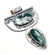 Tree Agate Gemstone 925 Sterling Silver Handmade Pendant Jewelry 2.95 Inch 8129