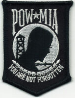 "POW MIA POWMIA You Are Not Forgotten 2"" x 3"" Embroidered Iron On Patch"