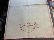 Vintage Linen Kitchen Toweling Towel Fabric Embroidered Teapot Unused