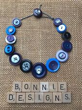 Handmade Button Necklace 17 inches - Stormy Sky Mix - Grey