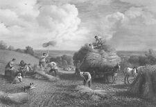 Family Farm Kids Cut Bale Hay in Field Horse Wagon, Old 1865 Art Print Engraving