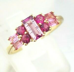 0.93ct Genuine Natural Pink Tourmaline Solid 9K Yellow Gold Ring Cocktail Dress