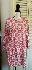 Barbara Gerwit Tunic Shirt   Sz L Pink & White Lightweight cotton