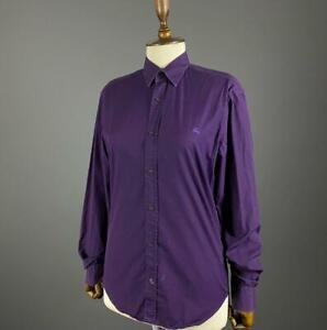 Ladies Burberry Brit Long Sleeve Purple Button Up Dress Shirt Size S