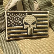 TAN US UNITED STATE 3D Flag PUNISHER SKULL TACTICAL  EMBROIDERED PATCH