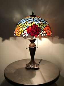 """Enjoy Tiffany Style Table Lamp Stained Glass Rose Flowers Blue Vintage W16""""*H24"""""""