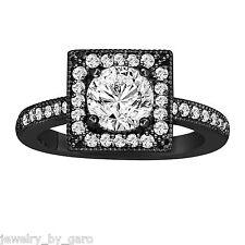 NATURAL DIAMOND ENGAGEMENT RING VINTAGE STYLE 14K BLACK GOLD 1.33 CARAT HALO
