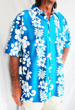"LOUD Hawaiian shirt turquise/white Hibiscus pattern XS, 44"" STAG NIGHT PARTY new"