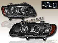 00-03 BMW X5 E53 DUAL HALO PROJECTOR HEADLIGHTS W/ LED STRIP BLACK 01 02