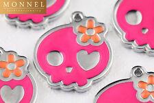 M24 Adorable Hot Pink Sugar Skull Charm Pendant Wholesale (10 pcs)