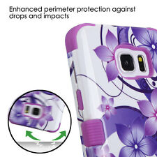 For Samsung Galaxy Note 5 Hybrid Rubber Protective Rugged Hard Case Cover Flower